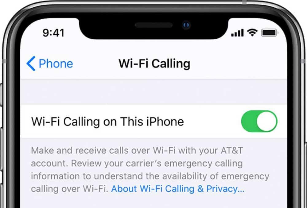 Wi-Fi Calling iPhone setting