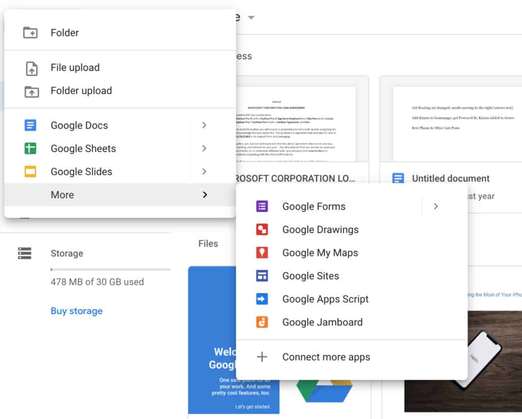 Google Drive Document Types