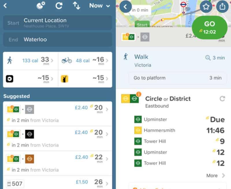 citymapper journey time planner