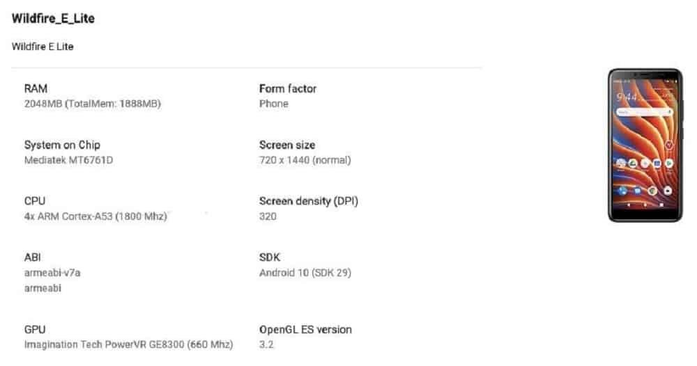 HTC Wildfire E Lite Spec