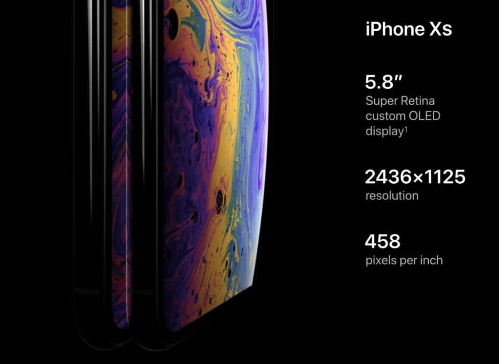 iphone xs display spec