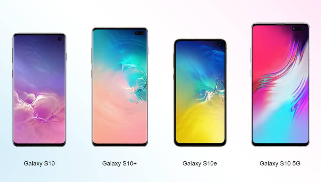 Samusung Galaxy S10 series sizes