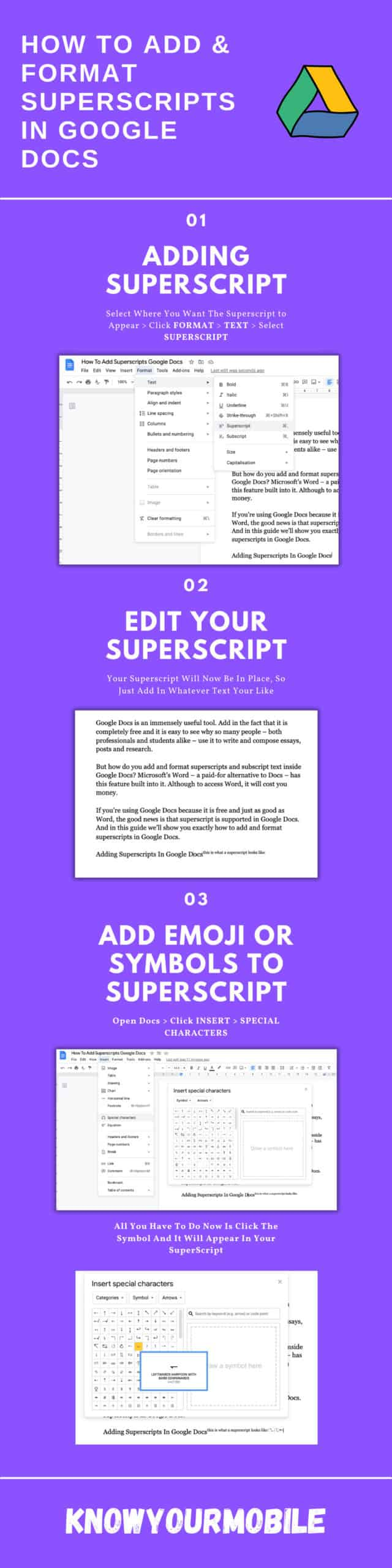 How To Add & Format Superscript In Google Docs